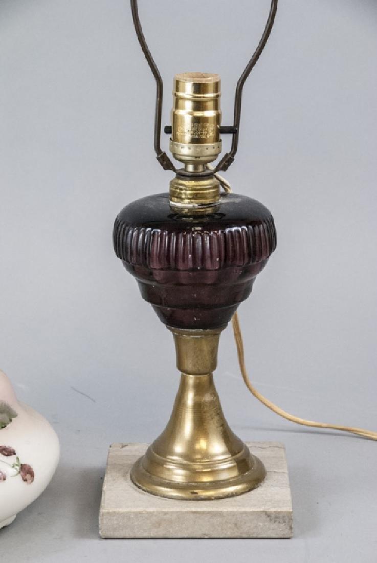 Pair Converted Antique  Art Glass Oil Lamps - 6