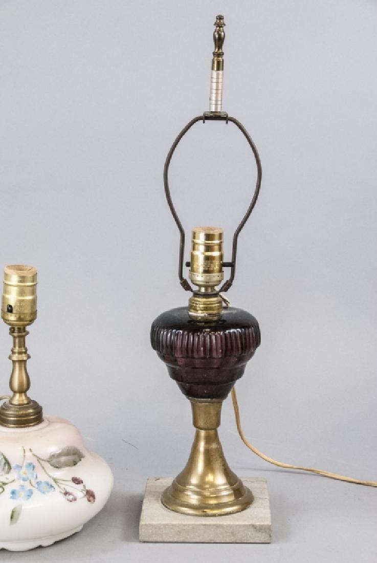 Pair Converted Antique  Art Glass Oil Lamps - 7