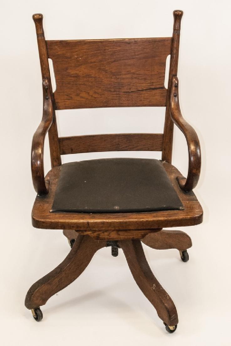 Arts and Crafts Period Oak Swivel Desk Chair - 2