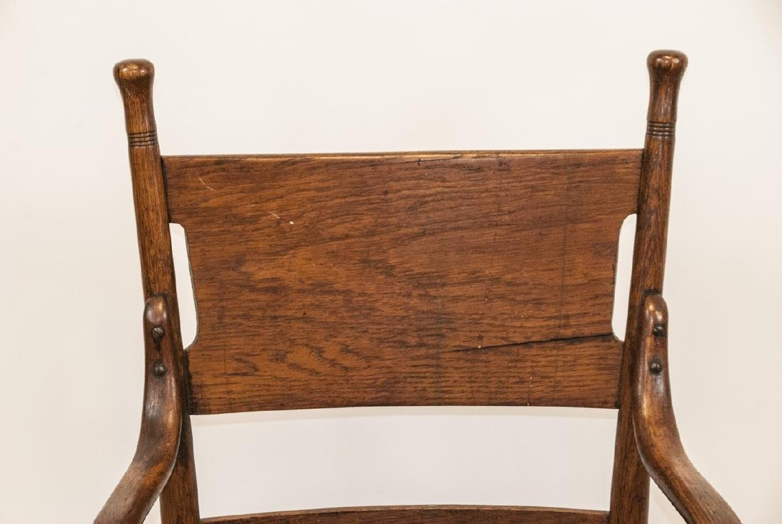 Arts and Crafts Period Oak Swivel Desk Chair - 4