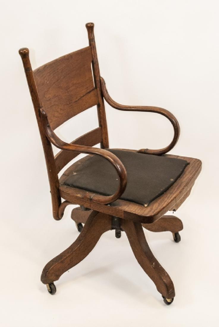 Arts and Crafts Period Oak Swivel Desk Chair - 6
