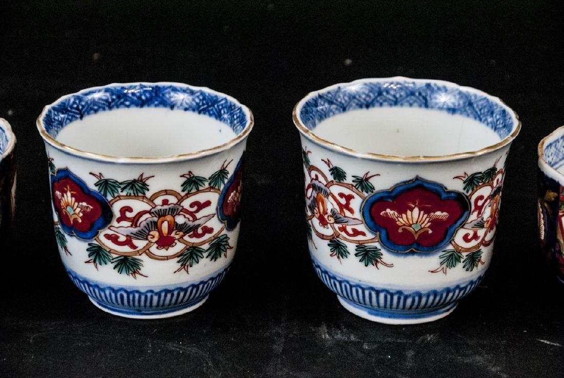2 Sets Mid C Asian Tea Cups Imari and Stoneware - 3
