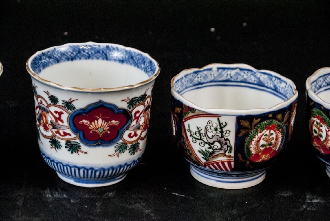 2 Sets Mid C Asian Tea Cups Imari and Stoneware - 4