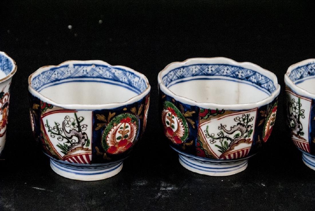 2 Sets Mid C Asian Tea Cups Imari and Stoneware - 5