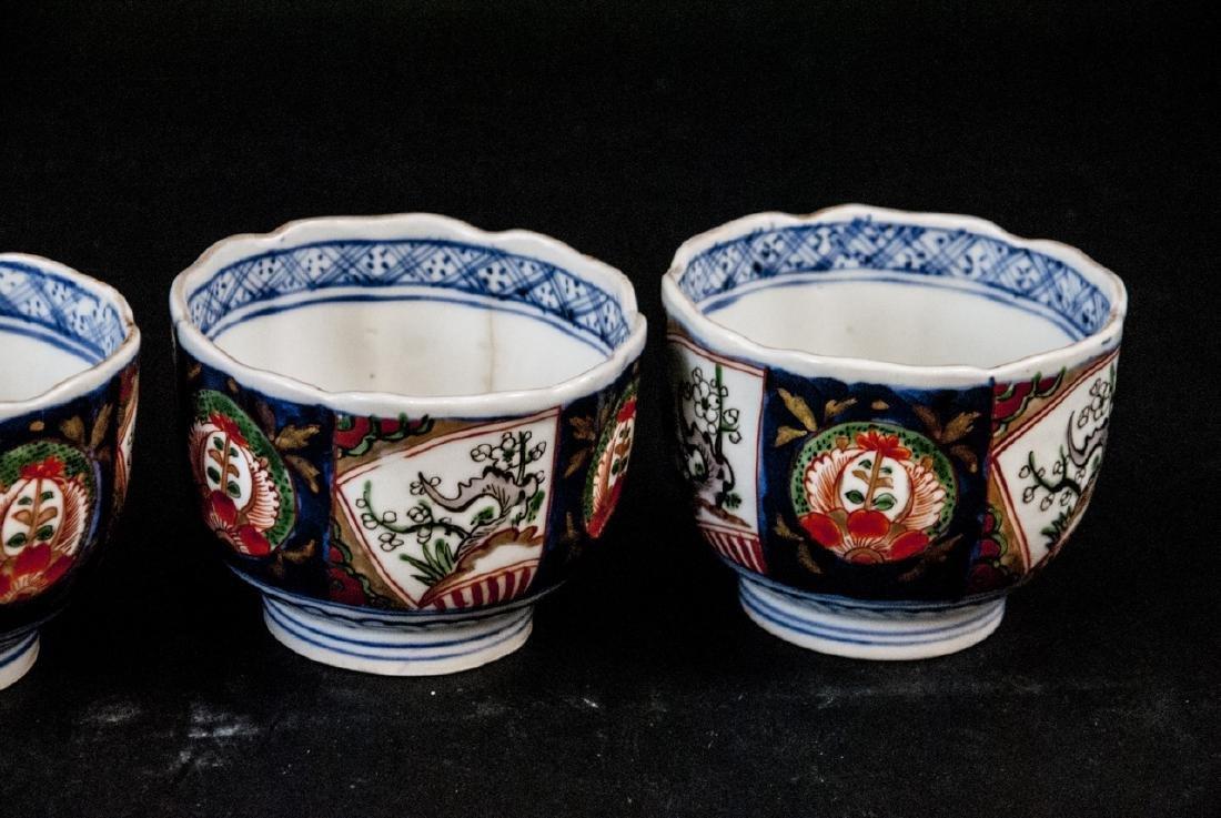 2 Sets Mid C Asian Tea Cups Imari and Stoneware - 6