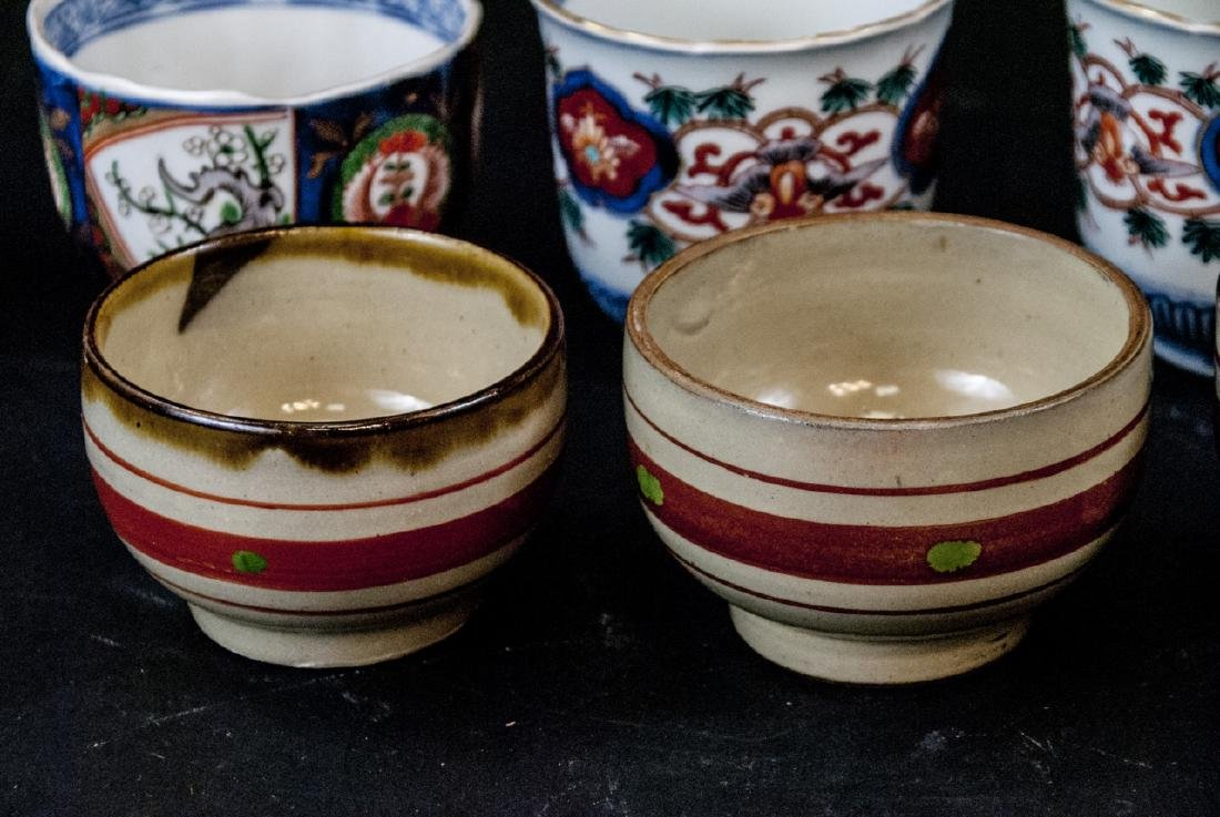 2 Sets Mid C Asian Tea Cups Imari and Stoneware - 8