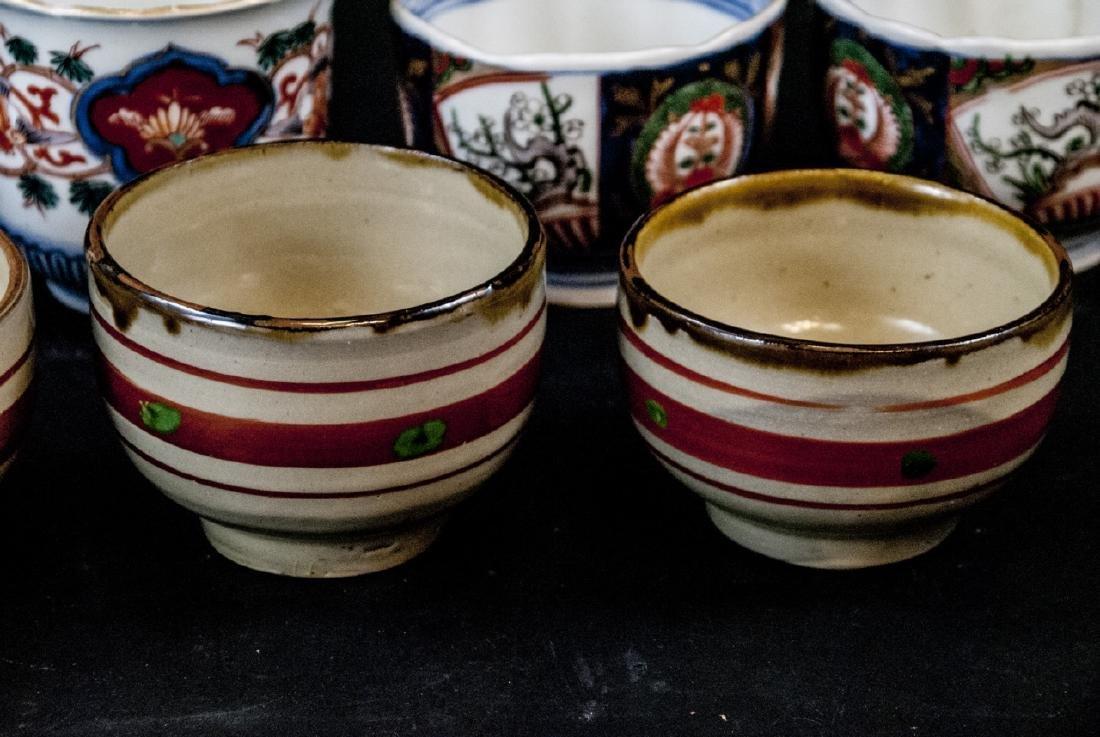 2 Sets Mid C Asian Tea Cups Imari and Stoneware - 9