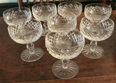 Set of Eight Waterford Irish Crystal Goblets