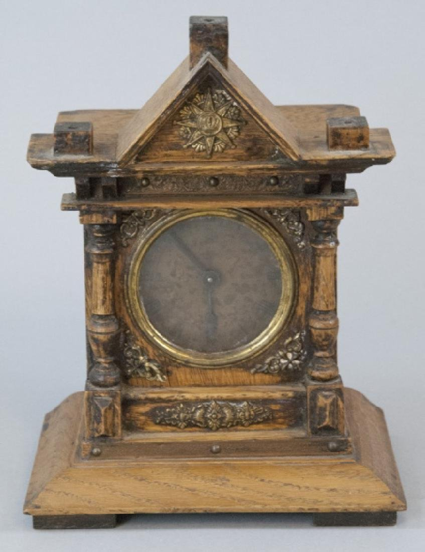 Antique Hand Carved Architectural Mantle Clock