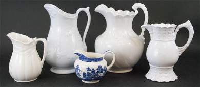 Collection of White Ironstone & Porcelain Pitchers