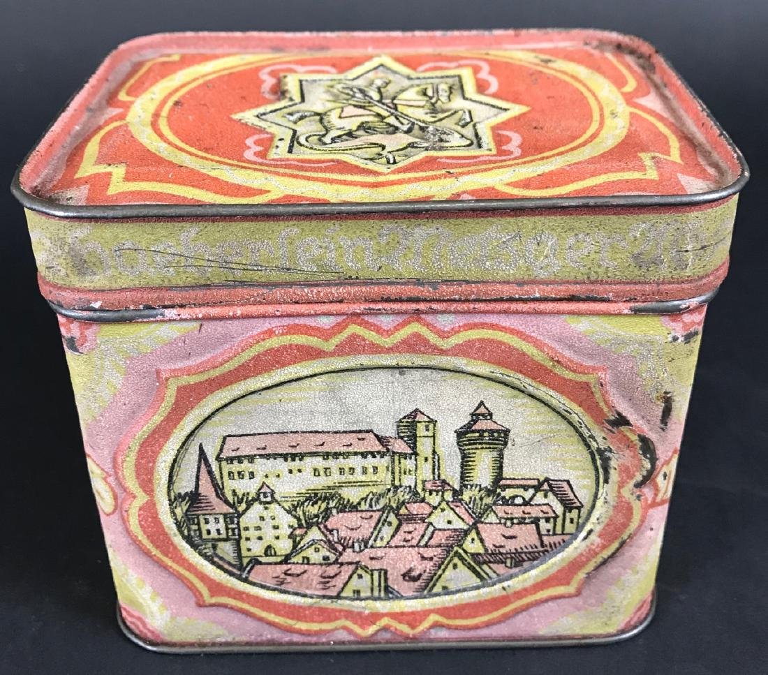 Antique Lithographed Tin German Canister