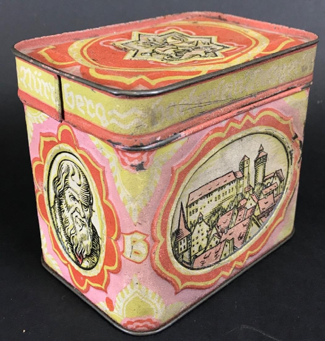 Antique Lithographed Tin German Canister - 4