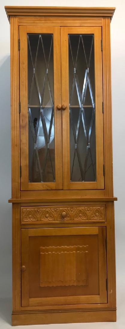 Arts & Crafts Style Paned Glass Jelly Cabinet