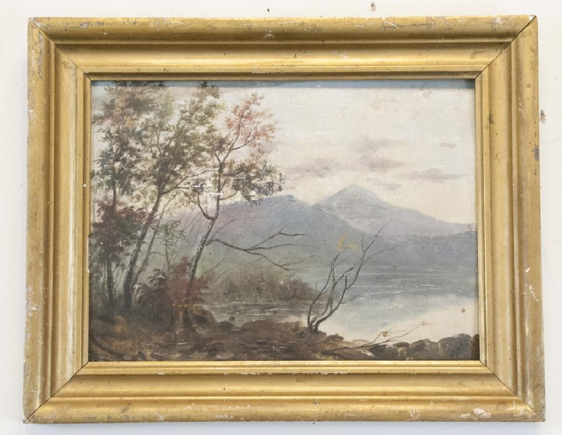 19th C Oil on Board Painting of Kennebago Maine
