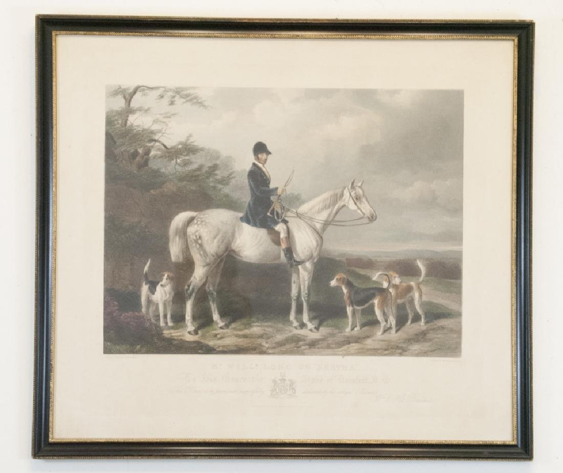 Framed Hand Colored English Equestrian Engraving
