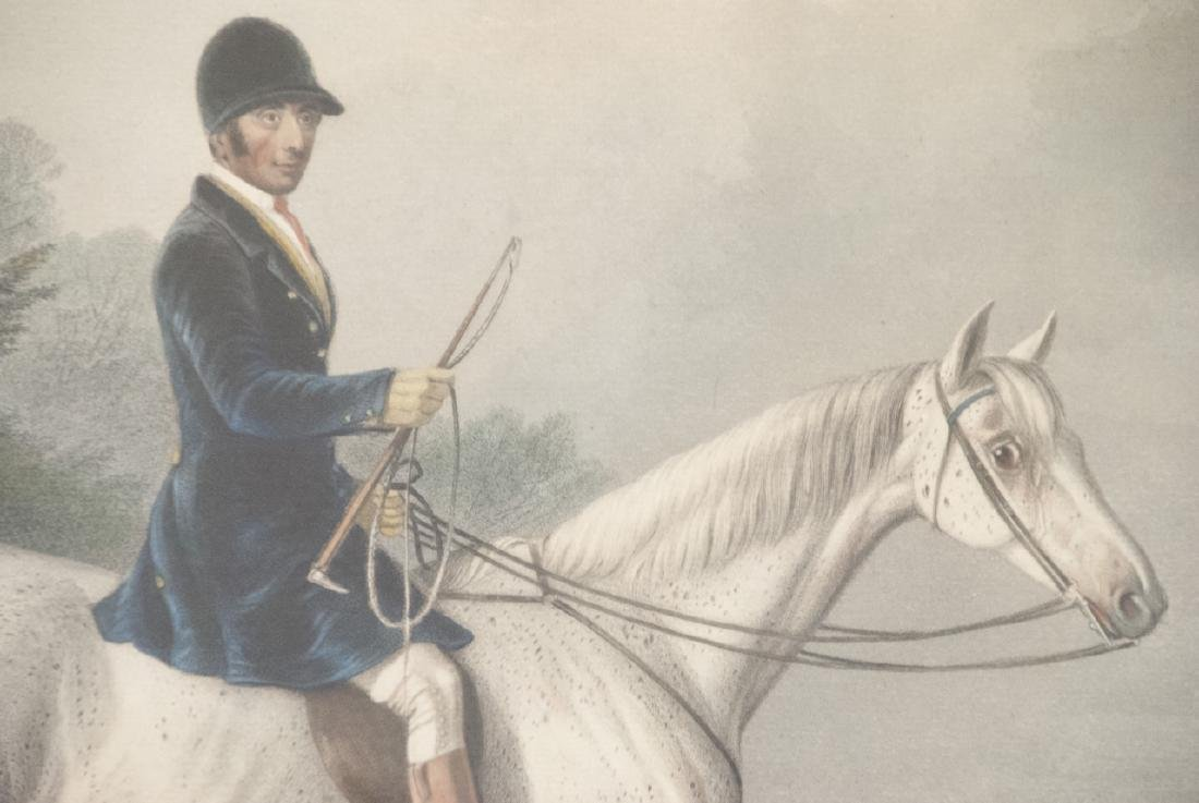 Framed Hand Colored English Equestrian Engraving - 4