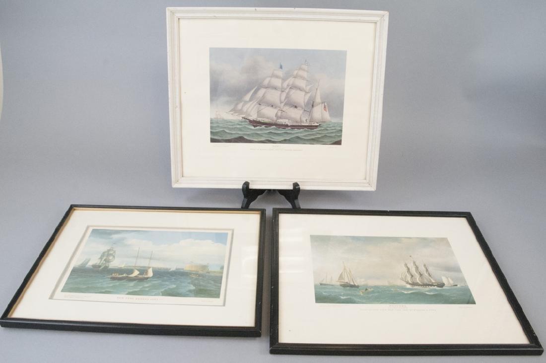 3 Reproduction New England Ship Engraving Prints