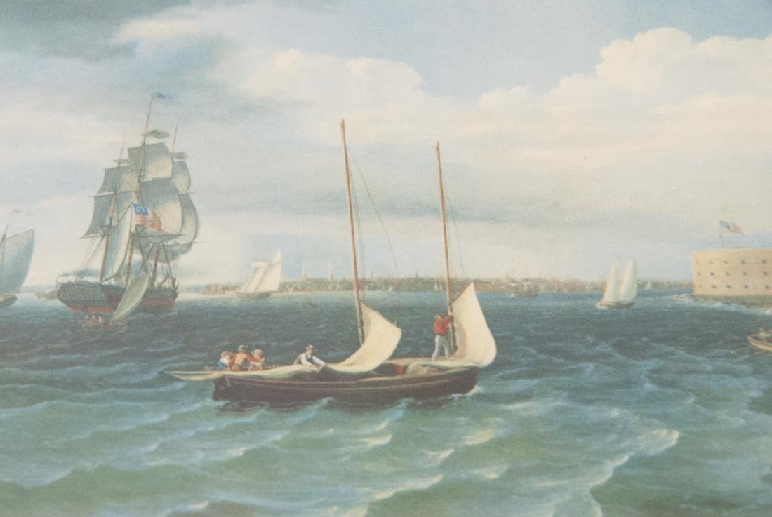 3 Reproduction New England Ship Engraving Prints - 3