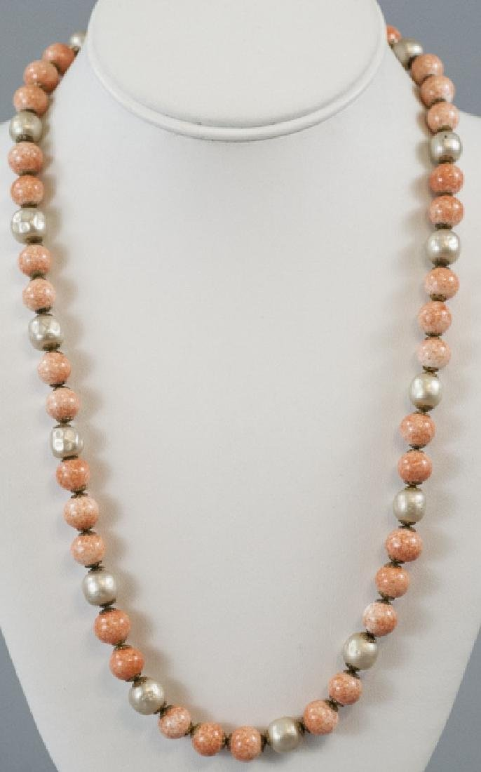 Miriam Haskell Faux Pearl & Coral Glass Necklace