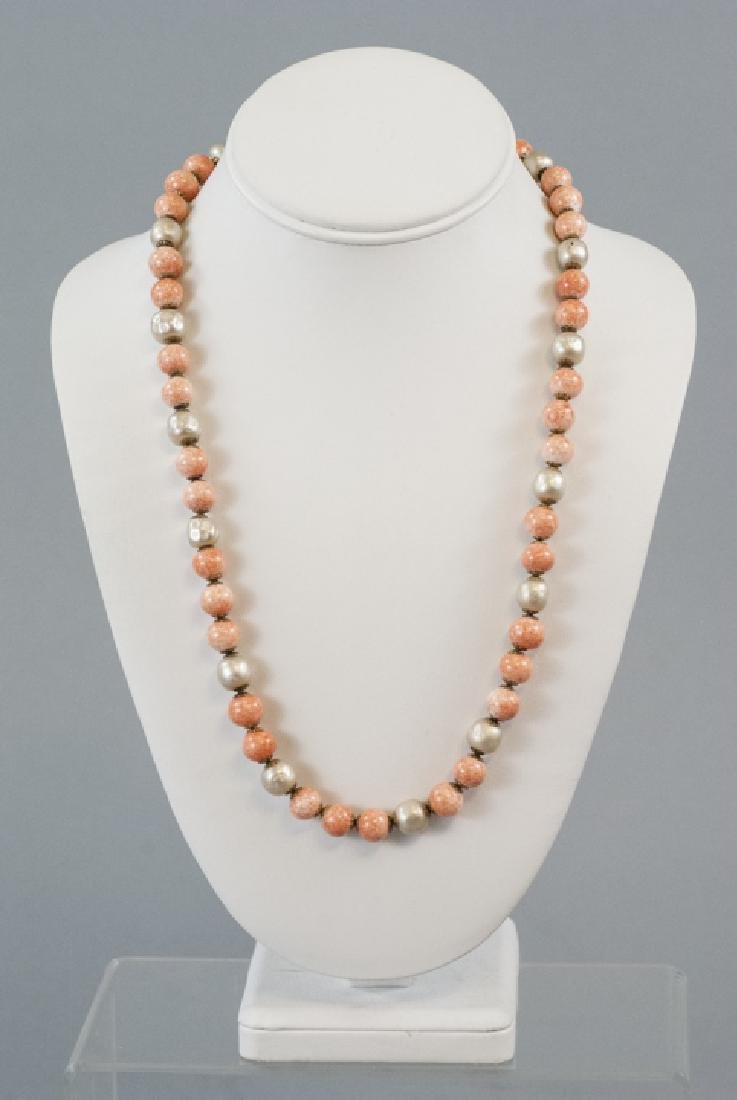 Miriam Haskell Faux Pearl & Coral Glass Necklace - 2