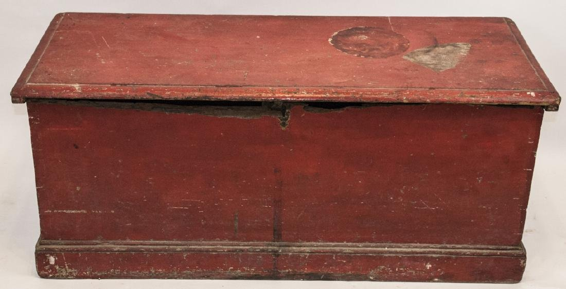 Hand Painted Country American Wooden Blanket Chest