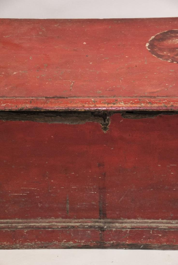 Hand Painted Country American Wooden Blanket Chest - 5