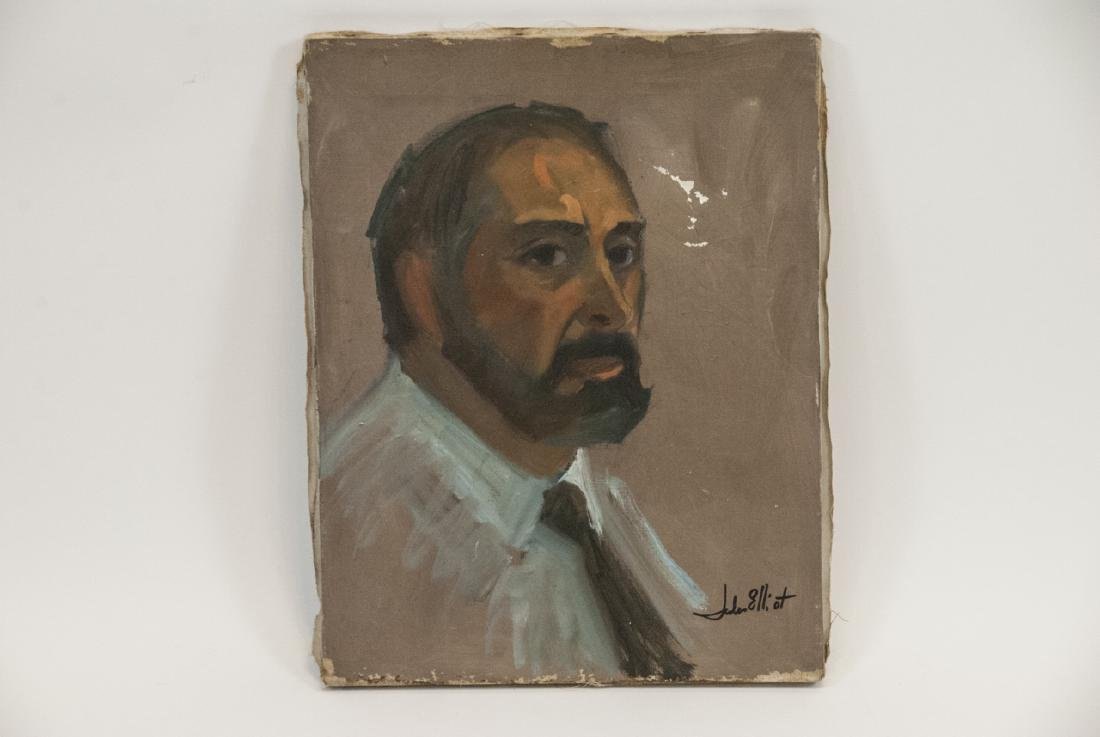 Original Modernist Portrait Oil Painting Signed - 2