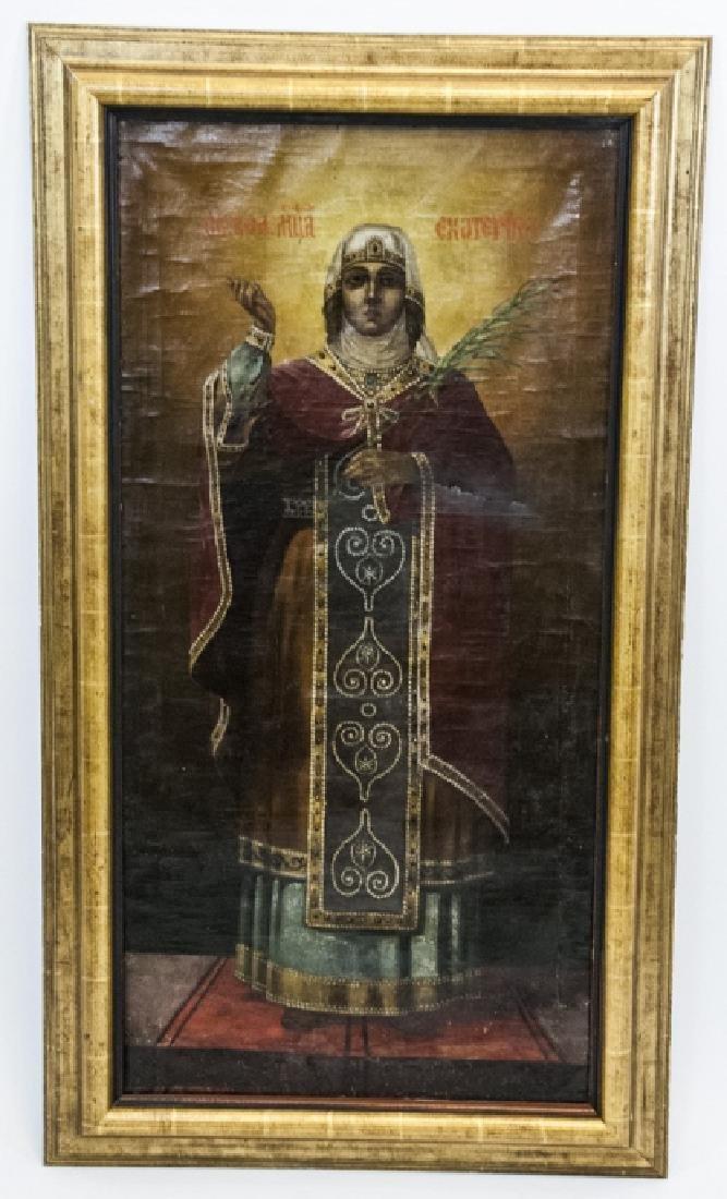 Antique 19th C Russian Icon of Saint Katherine