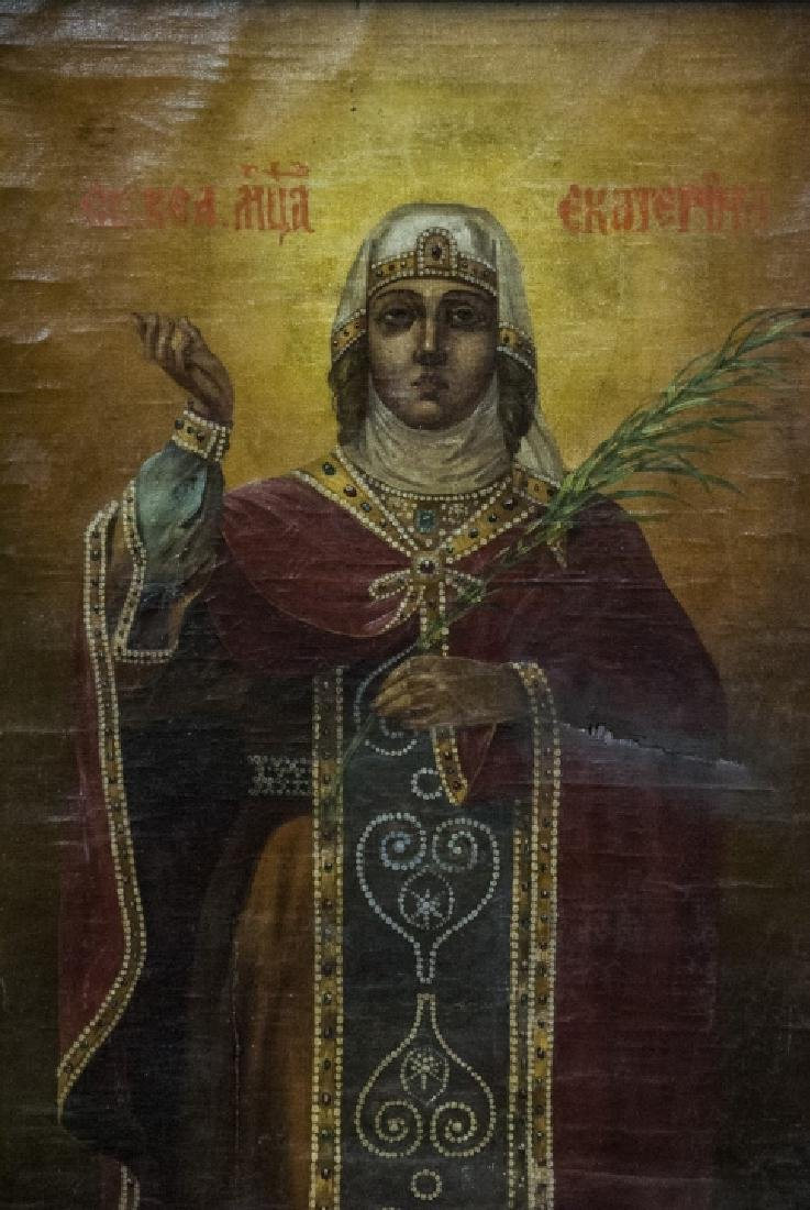 Antique 19th C Russian Icon of Saint Katherine - 5