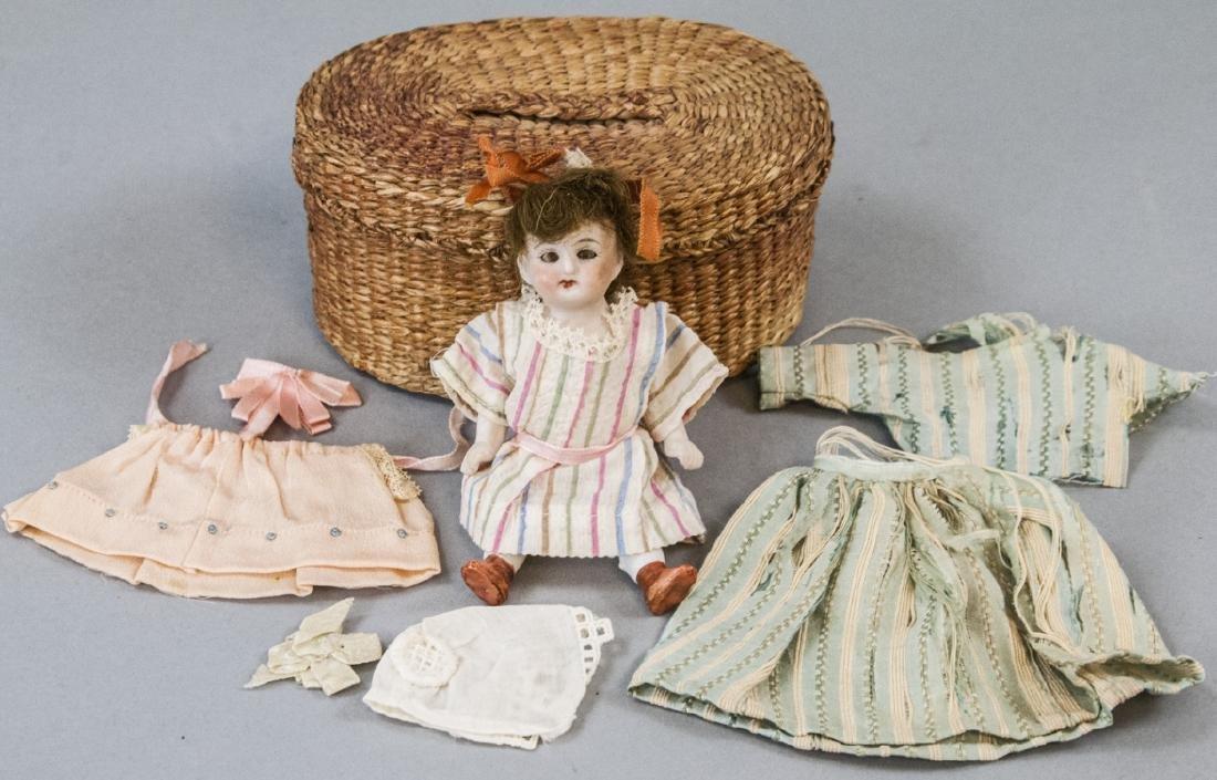 Antique German All Bisque Doll w Wardrobe & Box