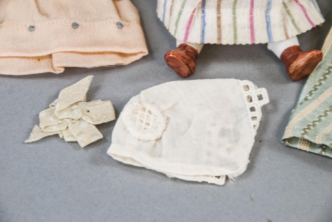 Antique German All Bisque Doll w Wardrobe & Box - 2