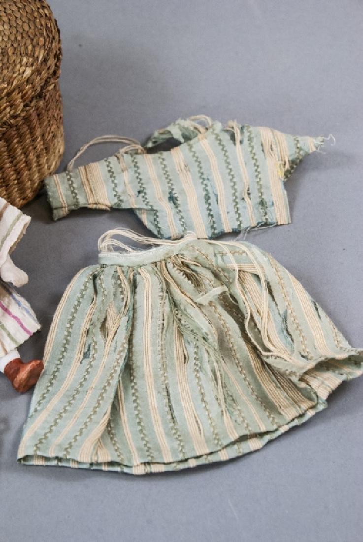 Antique German All Bisque Doll w Wardrobe & Box - 3