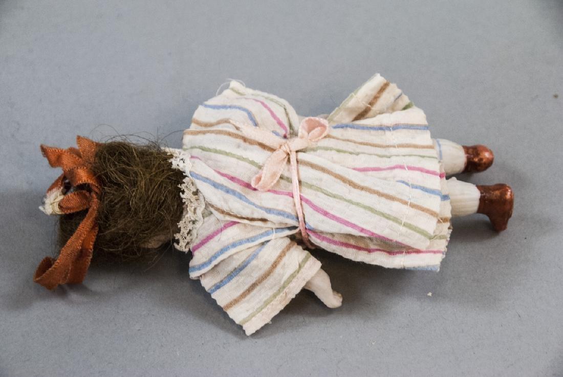 Antique German All Bisque Doll w Wardrobe & Box - 4
