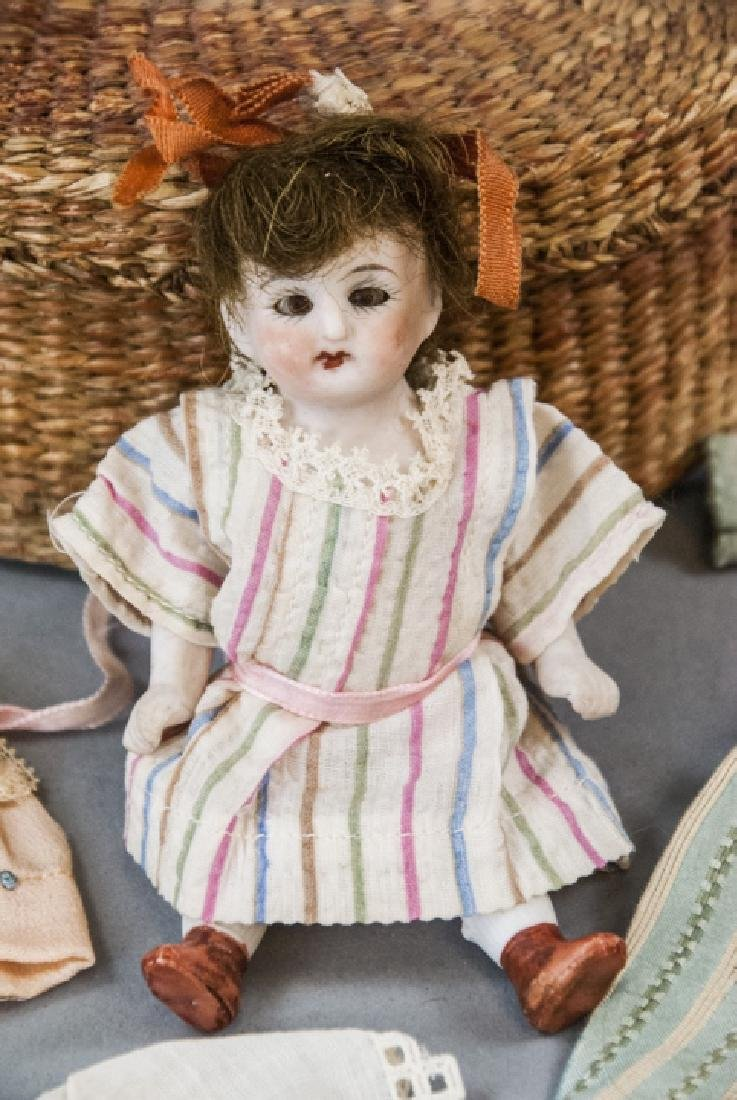 Antique German All Bisque Doll w Wardrobe & Box - 5
