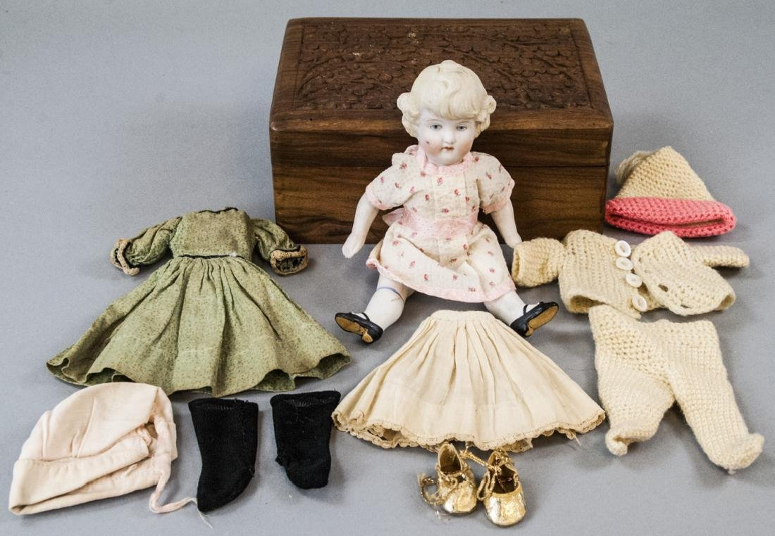 \Antique German All Bisque Doll w Wardrobe & Trunk