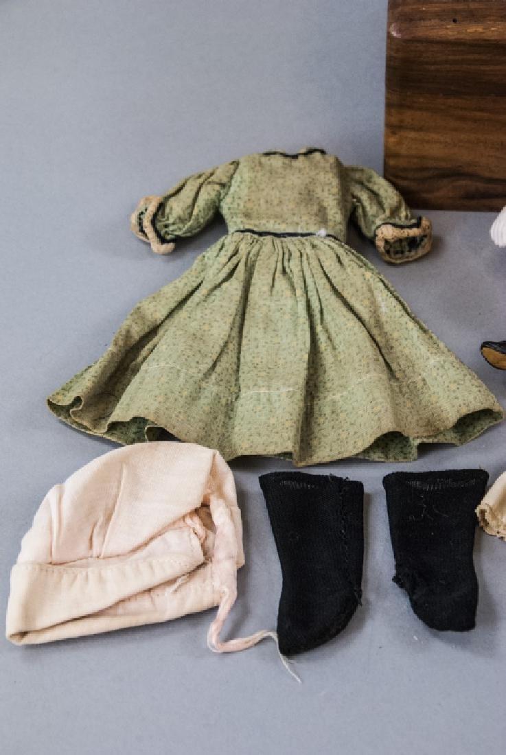 \Antique German All Bisque Doll w Wardrobe & Trunk - 3