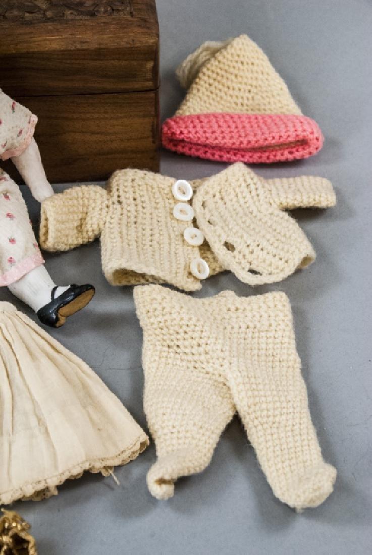 \Antique German All Bisque Doll w Wardrobe & Trunk - 4