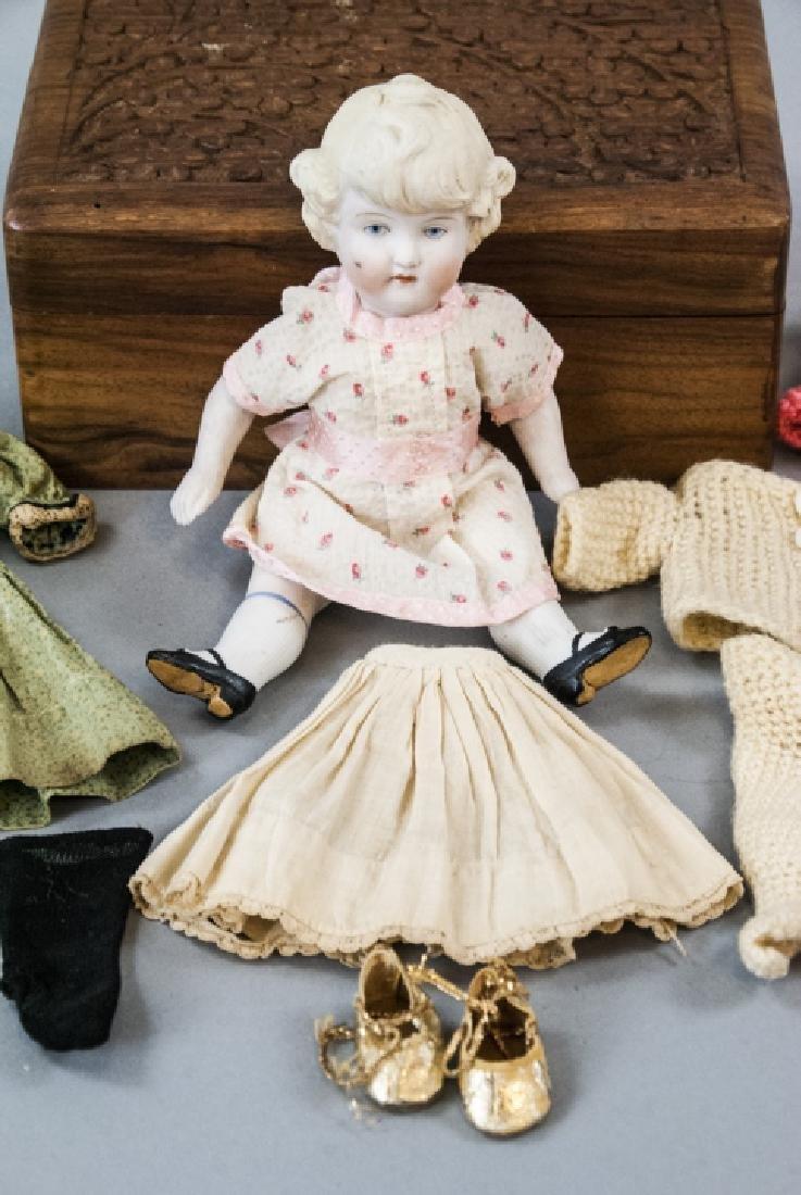 \Antique German All Bisque Doll w Wardrobe & Trunk - 5