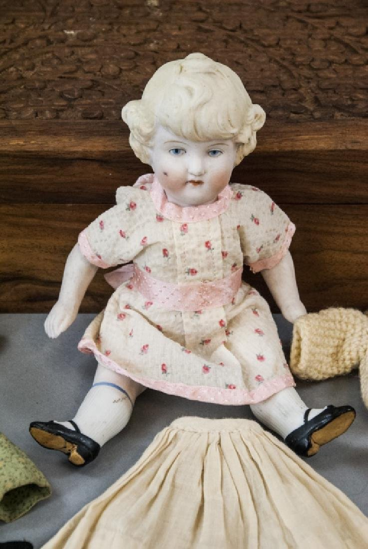 \Antique German All Bisque Doll w Wardrobe & Trunk - 6