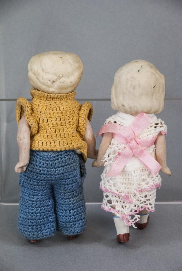 Two Antique All Bisque German Dolls w Clothes - 2