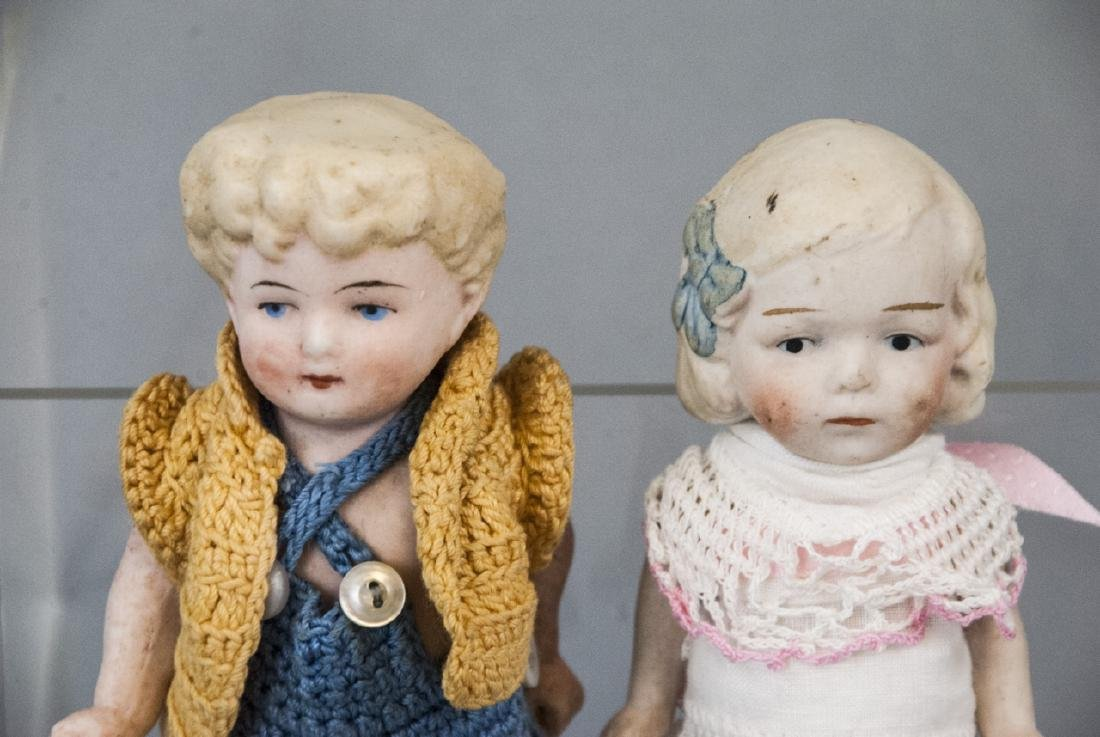 Two Antique All Bisque German Dolls w Clothes - 3