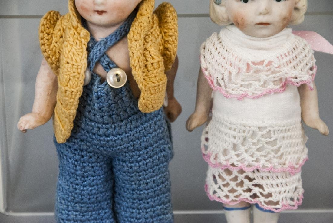 Two Antique All Bisque German Dolls w Clothes - 4