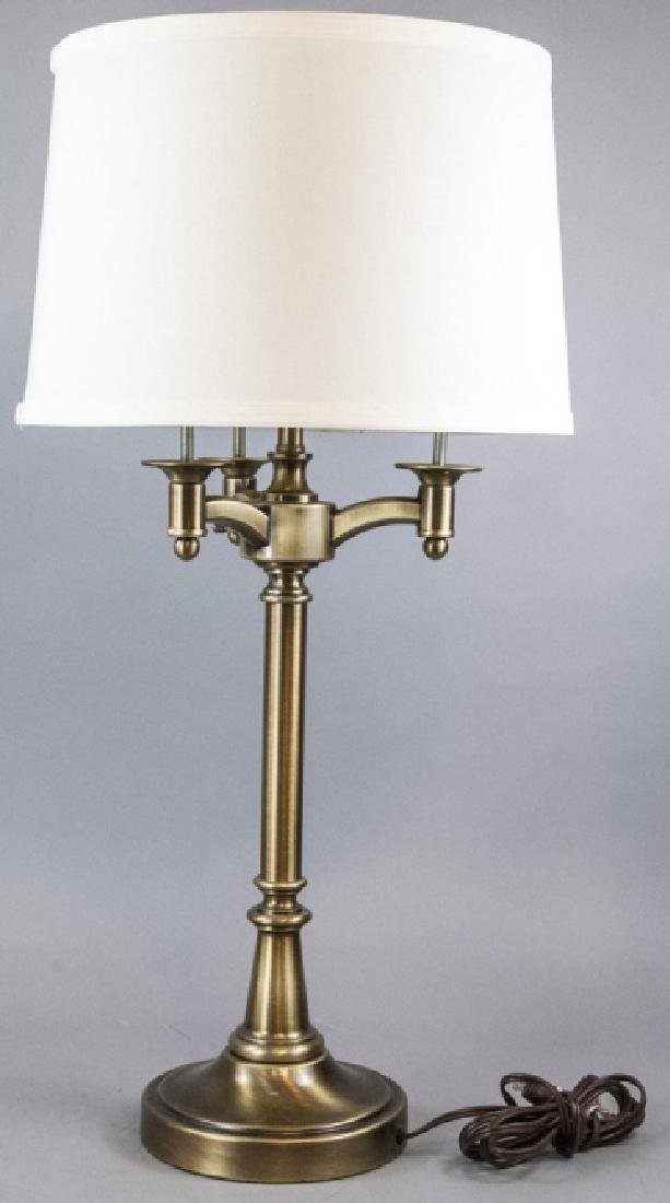 Traditional Brushed Brass 3 Arm Table Lamp w Shade