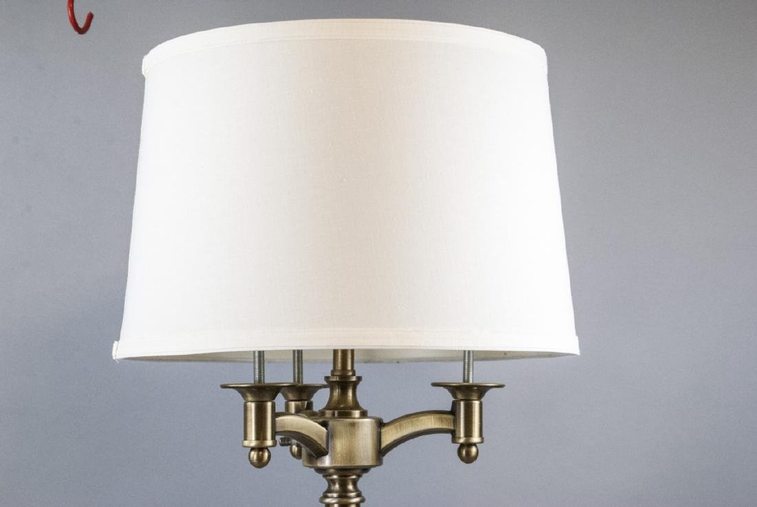 Traditional Brushed Brass 3 Arm Table Lamp w Shade - 3
