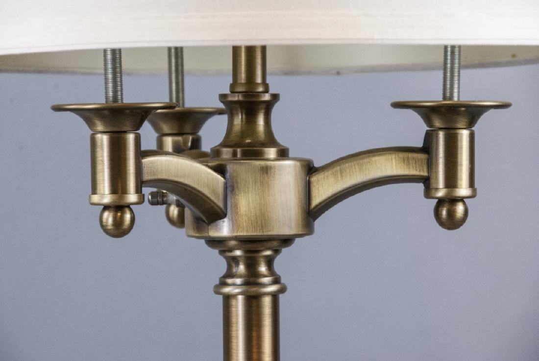 Traditional Brushed Brass 3 Arm Table Lamp w Shade - 4