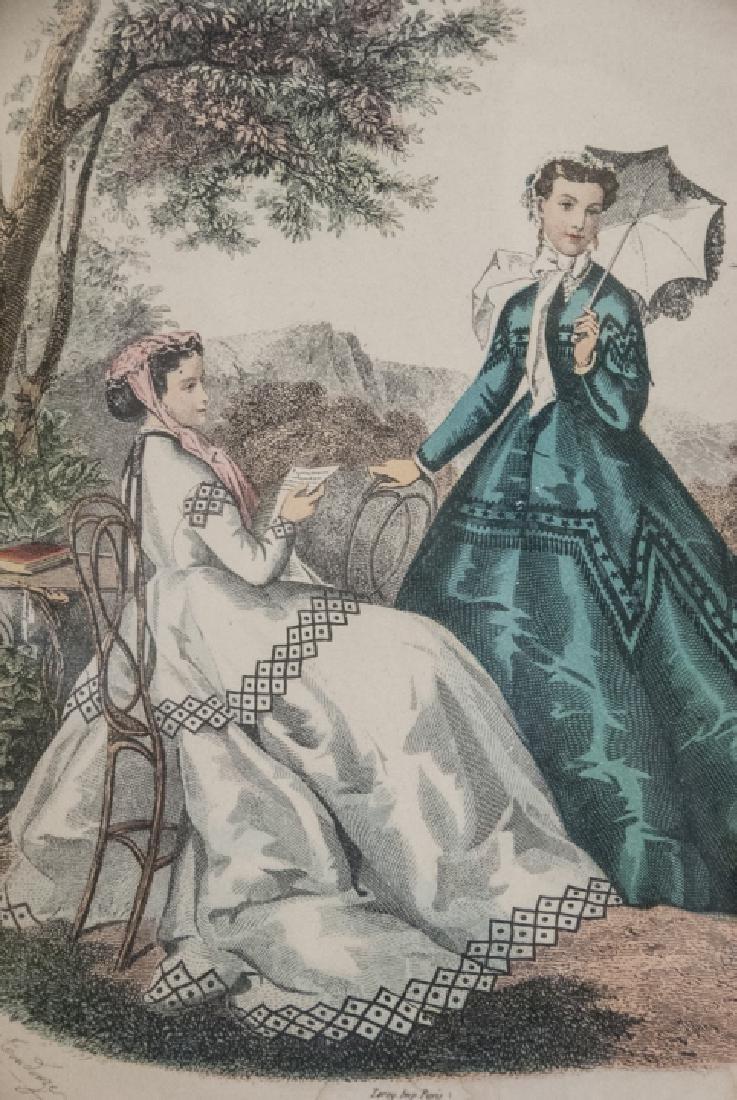 Antique Fashion Plate Print & Architectural Print - 3