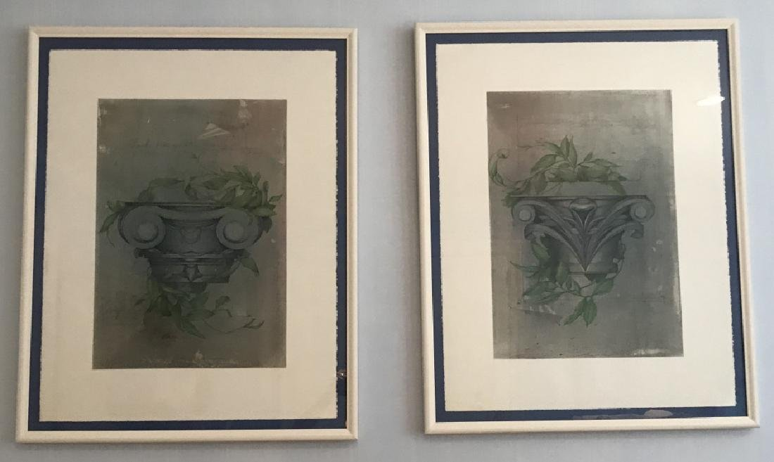 Pair Framed Prints of Corinthian Column Capitals