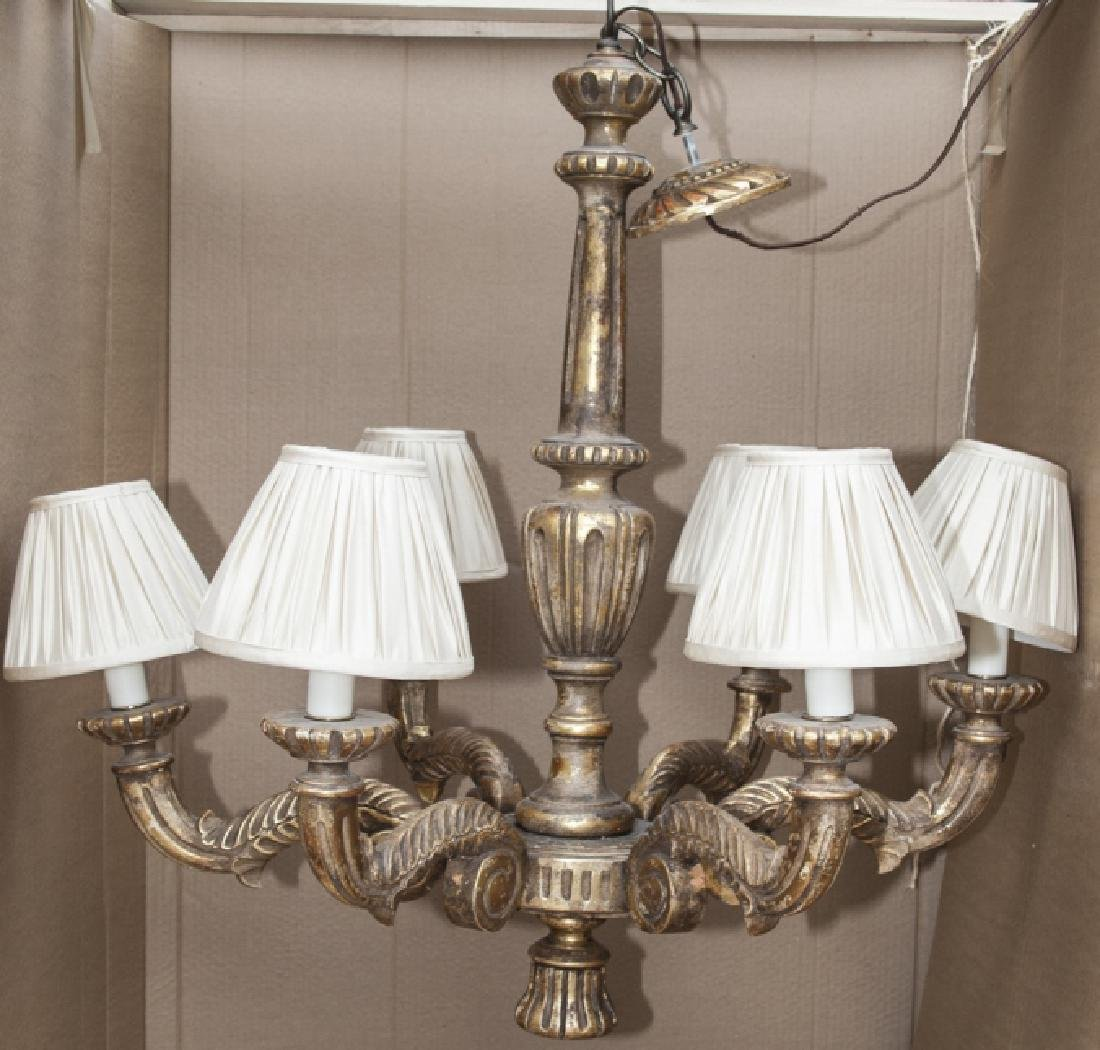 Neoclassical Style Gilded 6 Arm Chandelier