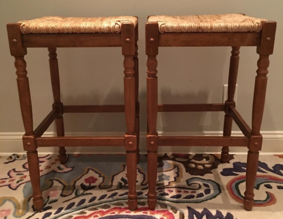 Pair of Contemporary Rattan & Oak Bar Stools