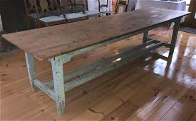 Large Antique 19th C Pine Irish Farm Dining Table
